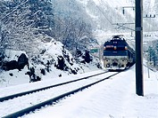 cold, scenery, train, railroad, snow, film