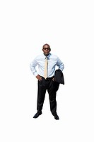 Businessman wearing sun glasses, hands on hips, cut out (thumbnail)