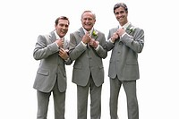 Groom and groomsmen adjusting ties, smiling, portrait, cut out (thumbnail)