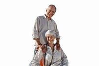 Senior couple together smiling, portrait, cut out (thumbnail)