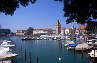 Picturesque marina and lake steamer port at Lindau on Lake Constance