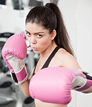 Hispanic woman boxing