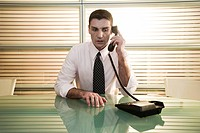 Businessman at desk on telephone