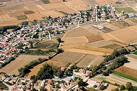 Aerial view of Kambos and fields, a municipality of Xanthi prefecture in Greece, Europe Kambos, Xanthi, Thrace, Greece, Europe