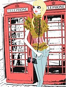 Young woman in front of phone booths