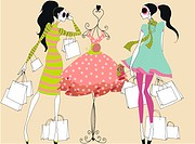 Young women with shopping bags looking at dress