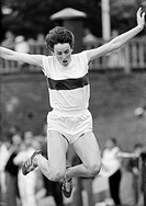 Sixties, black and white photo, sports, athletics, contests 1966 in Gladbeck in preparation for the European Championships in Budapest, long jump, wom...