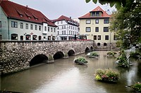 Bridge on the River Gera in the city of Erfurt. Thuringia, Germany
