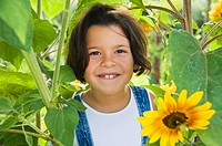 Girl and sunflowers (thumbnail)