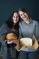 Women with cheese and bread