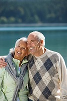 Germany, Bavaria, Walchensee, Senior couple embracing