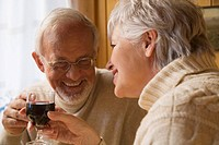 Senior couple holding wine glasses