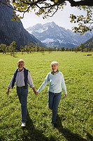 Austria, Ahornboden, senior couple walking hand in hand