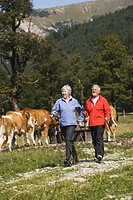 Austria, Karwendel, Senior couple nordic walking