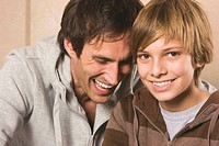 Father and son 13_14, smiling, portrait