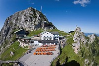 Germany, Bavaria, Wendelstein, building with outdoor furniture on summit