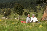 Austria, Karwendel, Senior couple in the countryside