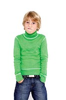 Boy 10_11 standing with hands in pockets, grimacing, portrait