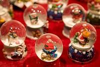 Germany, Baden Württemberg, Esslingen, Christmas snow globes on street stall