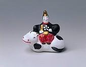 Sagara clay figure, god riding cow, Yonezawa, Yamagata, Tohoku, Japan