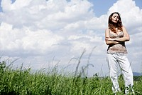 Beauty, arms folded, sky, woman, nature, portrait (thumbnail)