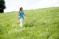 woman, beauty, walking, grass, nature, one woman o