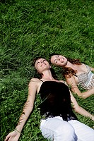 women, portrait, beauty, lying, grass, nature, eur