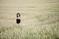 woman, beauty, nature, corn field, one woman only