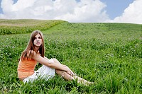 teenager, girl, sitting, grass, nature, portrait,