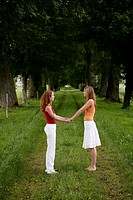 teenagers, holding hand, grass, grove, joy, young