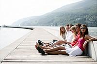 young adults, enjoying, port, harbour, portrait, g