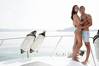 young couple, athletic, beauty, bikini, yacht, por