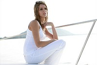 young adult, thinking, beauty, yacht, trip, casual