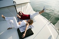 young couple, relaxing, yacht, relationship, portr