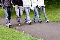 togetherness, walk, cut out, legs, teenagers, frie