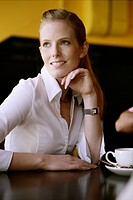 young, woman, beauty, thinking, sit, cafe, adult,