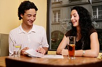 teenage couple, girl, boy, restaurant, menu, teens