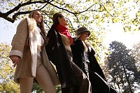 women, walking, beauty, autumn, joy, park, sunny