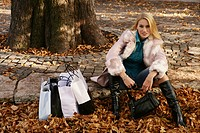 woman, outdoor, resting, bags, park, urban, lady