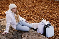 woman, outdoor, bags, leaves, park, urban, lady, a