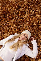 woman, lying, outdoor, leaves, happy, free, lady