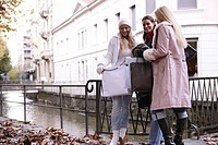 women, outdoor, fall, fun, old, building, bags, yo