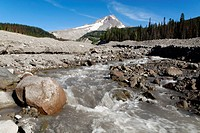 White River Gorge, volcano, Mount Hood, Cascade Ra