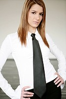 Young, woman, beauty, thoughtful, necktie, portrai (thumbnail)