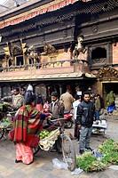 Nepal, Kathmandu, Indra Chowk, Akash Bhairab shrine, market