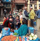 Nepal, Kathmandu, Durbar Square, vegetable market, people