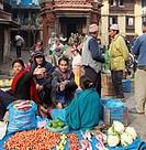 Nepal, Kathmandu, Durbar Square, vegetable market, people