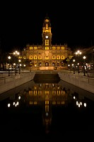 A night time view of Trindade, the city hall in Porto Oporto, Portugal.
