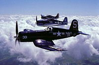 World War II US fighters: F4U Corsair (in foreground), F6F-5 Hellcat (centre), F4F Wildcat (in background)