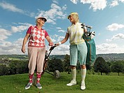Mature ladies playing golf